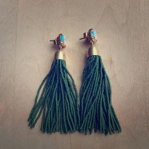 J Crew Beaded Tassel Earrings in Green